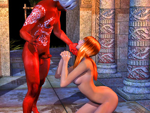 Cute girl gets nasty with a horny demon
