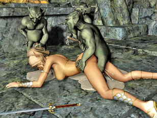 Horny goblins gangbang a slave girl and cover her in cum