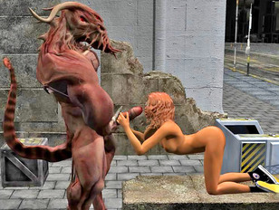 Careless girl surprised by a horny alien in the street