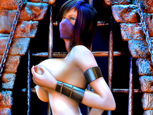 Horny demons enjoy the tits of a gorgeous slave girl