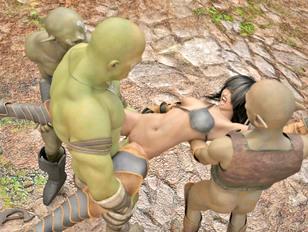 Hot warrior girl gangbanged by foul orcs