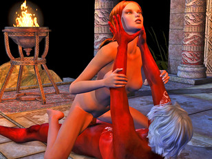 Charmed hottie riding on demon priest's cock