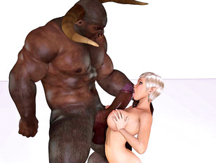 Minotaur cock stretching blonde's holes in hot threesome