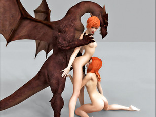 Lovely girls have to serve a horny dragon