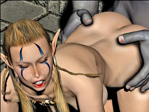Sweet girl forced into a kinky threesome with monsters
