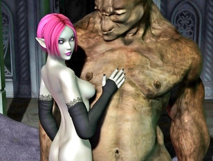 Sexy 3d elf girl getting it on with a cave monster
