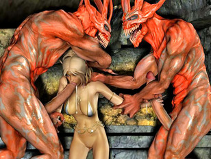 Lovely girl mercilessly gangbanged by demons