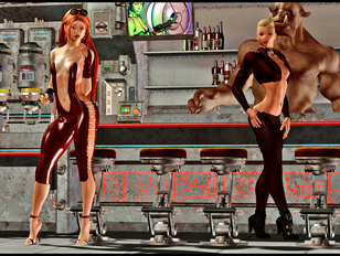 Space harlots nailed in the bar after closing time