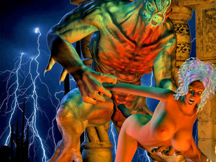 Lusty priestess fucks a dark demon