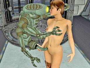 Spaceship robot banging a hot crew member