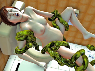 Kinky toilet surprise from a tentacle monster