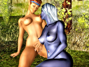 Green giant stretches petite elf's pussy