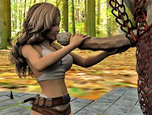 Warrior girl stuffed with troll's giant cock