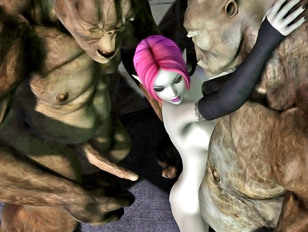 Two lucky cave trolls banging a slutty elf