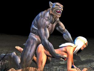 Hot blonde doesn't mind fucking a werewolf