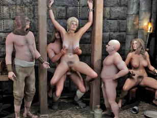Kinky monsters taking turns on slave girls