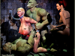 Horny monsters double penetrating a slave girl