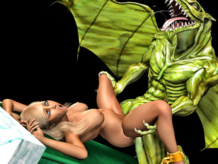 Monster sex pictures with blonde and green demon