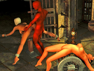 Horny devil tortures and rapes two girls