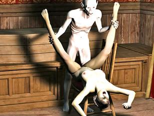 Kinky satanic ritual with a sacrificed hottie
