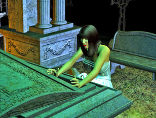 Crazy girl sneaks into the graveyard hungry for sex