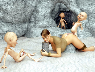 Wild monsters destroying pussy of the busty elf chick