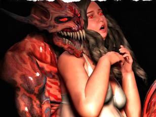 Gorgeous brunette enjoys two monster cocks inside her