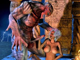 Horny priestess summons a demon to fuck