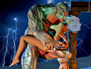 Kinky priestess sucks a demon off at the altar