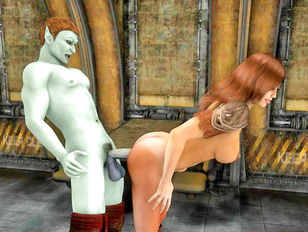 Busty warrior babe getting fucked by a demon