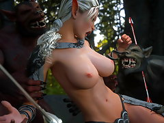 picture #1 ::: Ghast with a thick 3D monster cock bangs an Elven slut