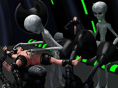picture #2 ::: Evil 3D aliens play with a tight pussy of a cute human girl