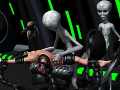 picture #3 ::: Evil 3D aliens play with a tight pussy of a cute human girl