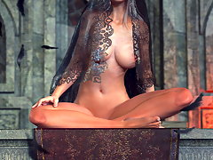 picture #1 ::: Posing 3D devil girl is showing her lush curves