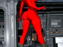 picture #4 ::: Posing 3D devil girl is showing her lush curves
