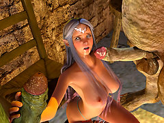 picture #2 ::: Two monster cocks facing a mouth watering elf girl