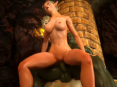 picture #2 ::: Evil 3D dp with a captured human slave girl