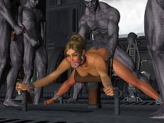 picture #3 ::: Busty human girl squeals as an ogre slams her