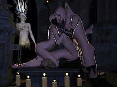 picture #3 ::: Dark elf girl is sucking off an elder vampire