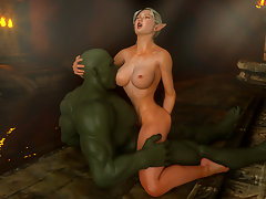picture #5 ::: Orc with a huge dick slams it into a pretty elf