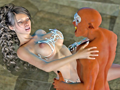 picture #1 ::: Bound babe mouthfucked by kinky goblins