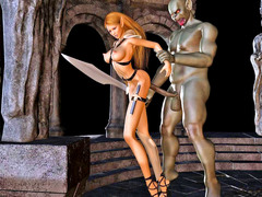 picture #3 ::: Sexy warrior girl nailed by her greatest enemy