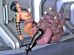 picture #2 ::: Spaceship fuck session with a slimy tentacle creature