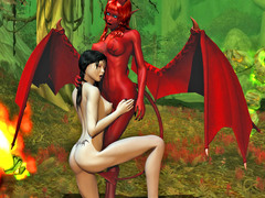 picture #3 ::: Winged demon girl gets eaten out by a lesbian