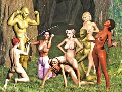 picture #5 ::: Six busty sluts enjoy two massive ogre cocks