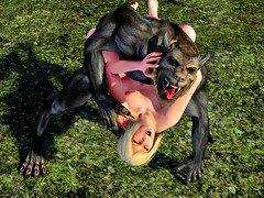 picture #1 ::: Hot blonde captured and double teamed by werewolves