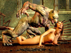 picture #2 ::: Hot blonde captured and double teamed by werewolves