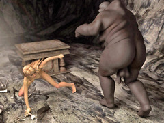 picture #2 ::: Lovely girl caught and nailed by a horny cave troll