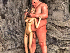 picture #5 ::: Lovely girl caught and nailed by a horny cave troll