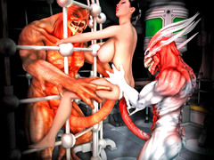 picture #3 ::: Lusty girl gets two demon cocks inside her